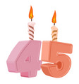 45 years birthday number with festive candle for vector image vector image