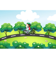 A boy riding in his bike at the street vector image vector image