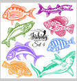 american fish - set 5 for creative design vector image vector image