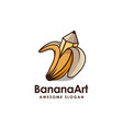 banana and drawing pencil logo banana art logo vector image