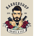 barbershop vintage colorful label vector image vector image