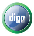 blue and green icon a digg platform on white vector image vector image