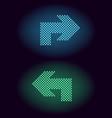blue and green neon dot arrow vector image vector image