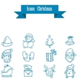 Blue icons of holiday and Christmas vector image
