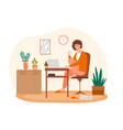 businesswoman is working on her laptop at home vector image