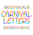 carnival letters typeface colorful font isolated vector image