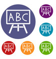 chalkboard with the leters abc icons set vector image vector image