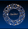 christmas and new year copper line icon wreath vector image vector image