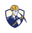 Coal Miner With Pick Axe Shield Retro vector image vector image