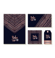 copper boho card template and label set vector image