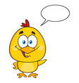cute yellow chick waving with speech bubble vector image vector image
