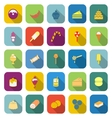 Dessert color icons with long shadow vector image vector image