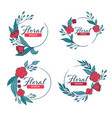 doodle floral frames with fresh flowers vector image vector image