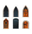 doors set wooden and metal medieval entries vector image