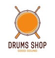drum icon with sticks Drum school logo vector image