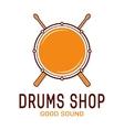 drum icon with sticks school logo vector image