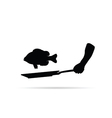 fish cook black vector image