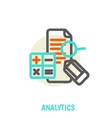 Flat line icons of analytics concept