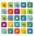 fruit color icons with long shadow vector image vector image