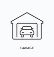 garage flat line icon outline vector image