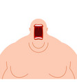 glutton hungry fat man open mouth fatso heavy vector image vector image