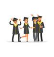 happy graduate characters vector image