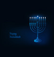 happy hanukkah greeting card with glowing low poly vector image