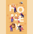 honey concept characters with honeycomb spoon vector image