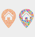 house map marker mosaic icon triangle vector image vector image