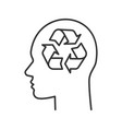human head with recycling sign inside linear icon vector image
