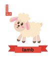 Lamb L letter Cute children animal alphabet in vector image
