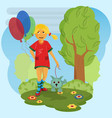 little girl in a dress in red shoes walks with a vector image
