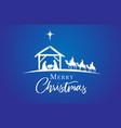 merry christmas jesus in manger on blue vector image