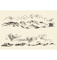 Mountains sketch contours engraving drawn vector image