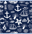 nautilus seamless pattern with anchor vector image