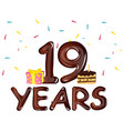 nineteen years anniversary celebration vector image vector image