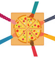 people eating together a huge pizza top view vector image vector image