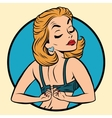 Pin-up girl wears a bra vector image vector image