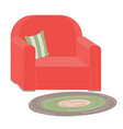 red upholstered armchair with striped pillow rug vector image