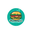 Retro 1950s Diner Hamburger Circle vector image