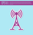 retro purple antenna icon isolated on turquoise vector image vector image
