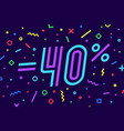 sale -40 percent banner for discount sale vector image vector image