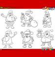 santa claus characters set coloring book page vector image