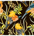 Seamless pattern of birds and plants vector image vector image