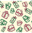 Seamless pattern with christmas red and green vector image