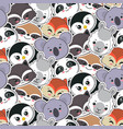 seamless pattern with cute animal faces vector image