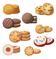 set 9 delicious cookies cartoon vector image vector image