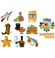 set of on the theme of the wild west sheriff vector image vector image