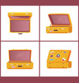 set of retro suitcases top side front view memory vector image