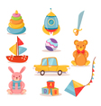 set toys for kids in retro style vector image